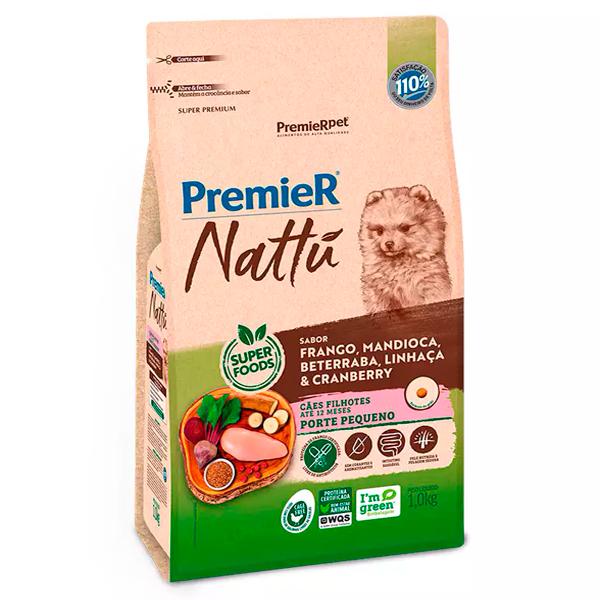 Ração Premier Nattu Cães Filhotes Pequeno Porte Mandioca