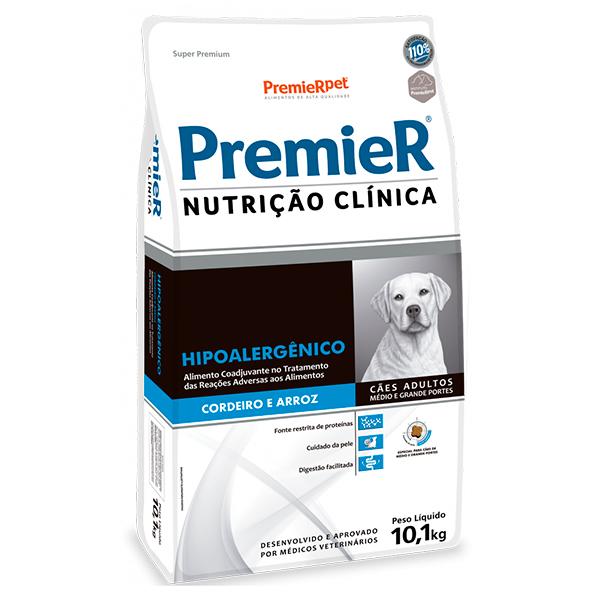 Ração Premier Nutrição Clínica Hipoalergênico Cães Adultos Médio e Grande Porte Cordeiro e Arroz 10,1Kg