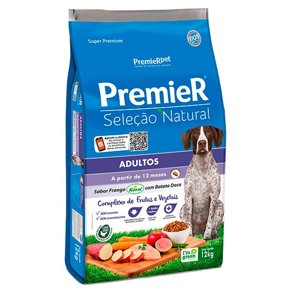Ração Premier Seleção Natural para Cães Adultos Sabor Frango com Batata Doce - 12Kg