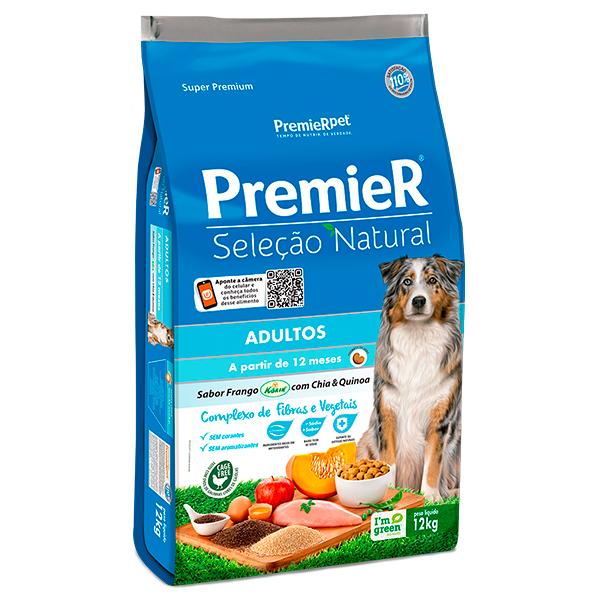 Ração Premier Seleção Natural para Cães Adultos Sabor Frango com Chia e Quinoa - 12Kg