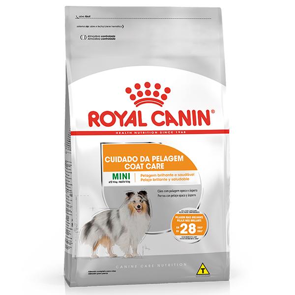 Ração Royal Canin Mini Coat Care para Cães Adultos de Raças Pequenas no Cuidado da Pelagem Áspera e sem Brilho 2,5Kg