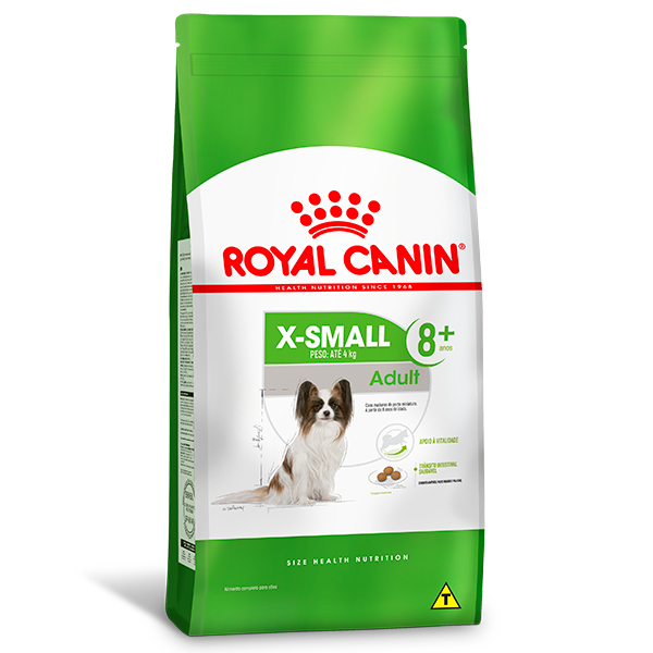Ração Royal Canin X-Small Adult 8+ para Cães Adultos de Porte Miniatura acima de 8 anos de idade