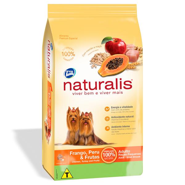 Ração Total Naturalis para Cães Adultos de Raças Pequenas sabor Frango Peru e Frutas - 15Kg