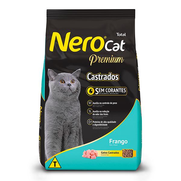 Ração Total NeroCat Premium para Gatos Adultos Castrados Sabor Frango - 10,1Kg