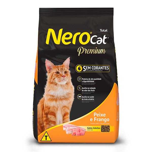 Ração Total NeroCat Premium para Gatos Adultos sabor Frango e Peixe - 10,1Kg