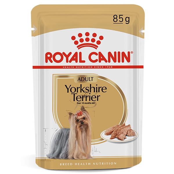 Ração Úmida Royal Canin Sachê Breed Health Nutrition Adult Wet para Cães Adultos da Raça Yorkshire Terrier 85g