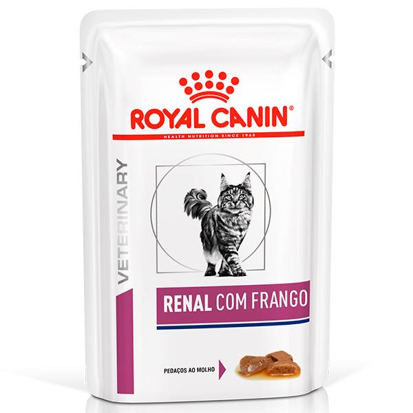 Ração Úmida Royal Canin Sachê Feline Veterinary Nutrition Renal Frango para Gatos com Doenças nos Rins 85g