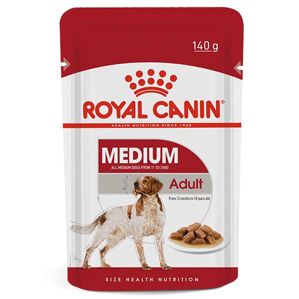 Ração Úmida Royal Canin Sachê Medium Adult Wet para Cães Adultos de Raças Médias 140g
