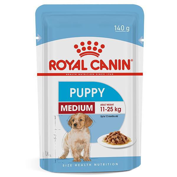 Ração Úmida Royal Canin Sachê Medium Puppy Wet para Cães Filhotes de Raças Médias 140g