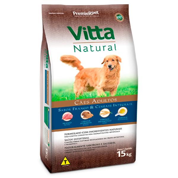 Ração Vitta Natural Cães Adultos Frango e Cereais Integrais 15Kg