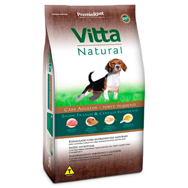 Ração Vitta Natural Cães Adultos Pequeno Porte Frango e Cereais Integrais