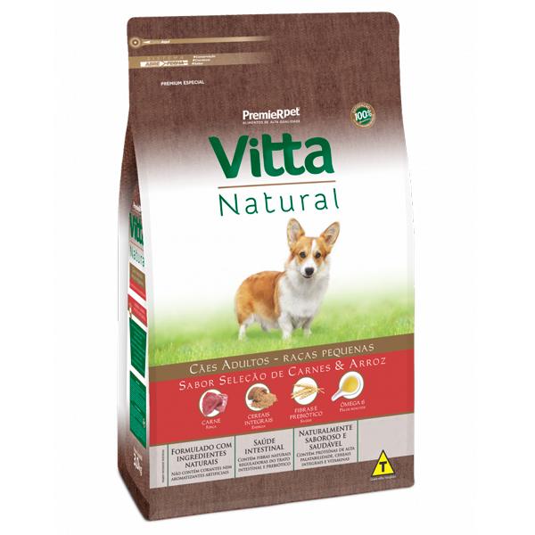 Ração Vitta Natural Cães Adultos Pequeno Porte Seleção de Carnes e Arroz