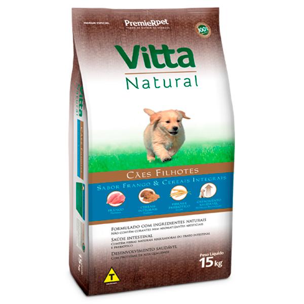 Ração Vitta Natural Cães Filhotes Frango e Cereais Integrais 15Kg