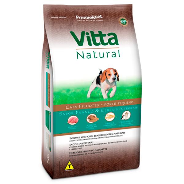 Ração Vitta Natural Cães Filhotes Pequeno Porte Frango e Cereais Integrais