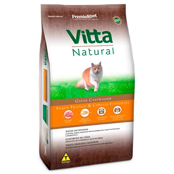 Ração Vitta Natural Gatos Castrados Frango e Cereais Integrais