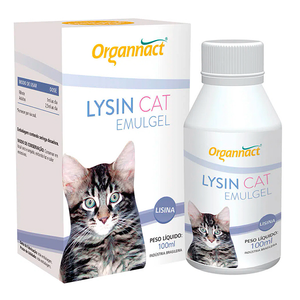 Suplemento Organnact Lysin Cat Emulgel 100ml