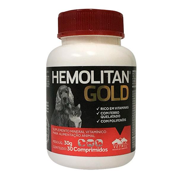 Suplemento Vetnil Hemolitan Gold - C/ 30 Comprimidos