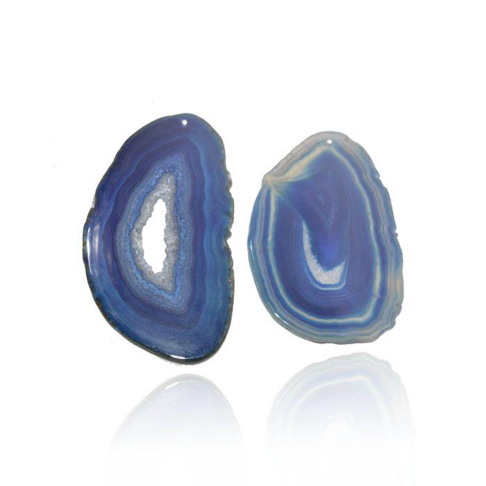 Chapa de Ágata Azul Furada 5 a 7cm Bordas Polidas - 1 Peça - AGT_120
