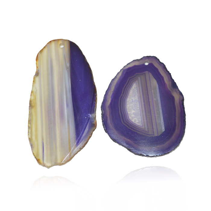 Chapa de Ágata Lilás Furada 5.5 a 6.5m Bordas Polidas - 1 Peça - AGT_104  - ArtStones