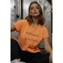 T-Shirt Happiness Is A State Laranja Neon