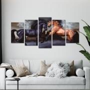 Cavalos Selvagens - Mosaico 5 peças