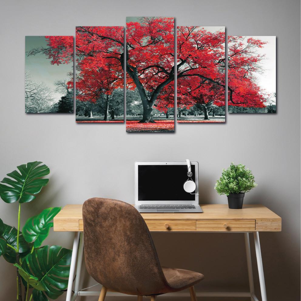 A Árvore da Vida Vermelha - Mosaico 5 peças
