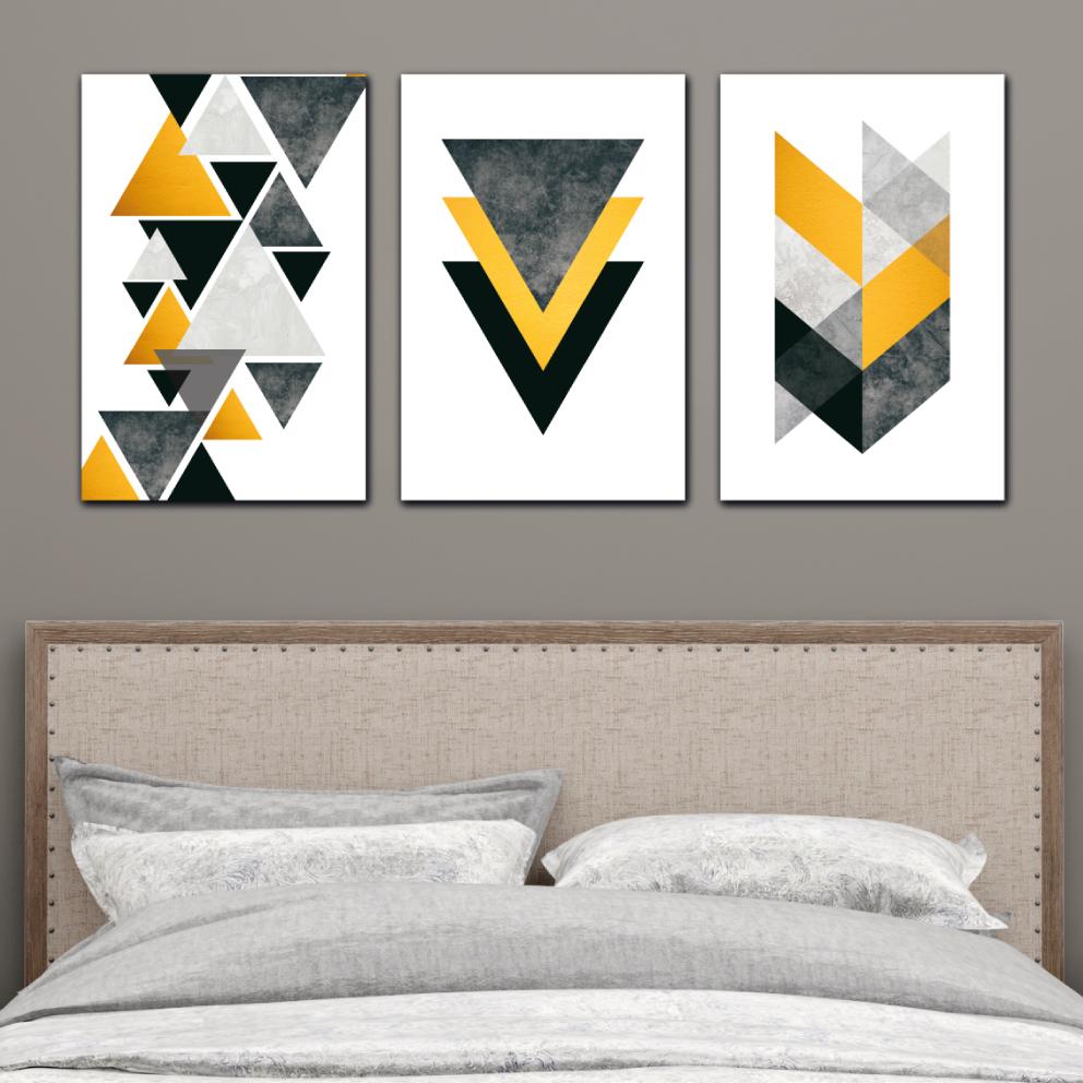 Abstrato Geométrico Amarelo com Cinza