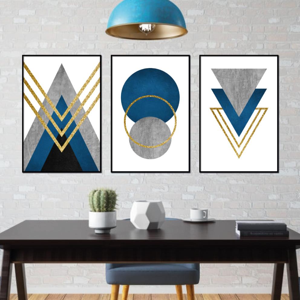 Abstrato Geométrico Azul com Cinza