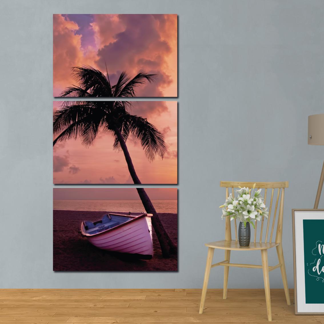 Barco na Praia - Mosaico Vertical