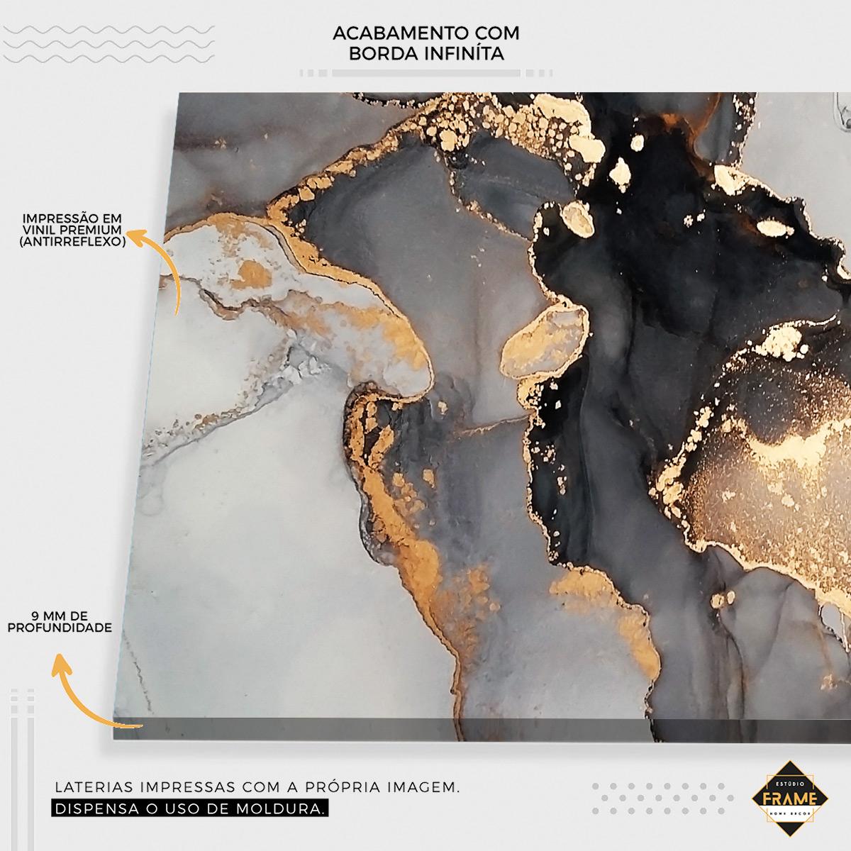 Composição Mármore Dourado com Cinza Abstrato