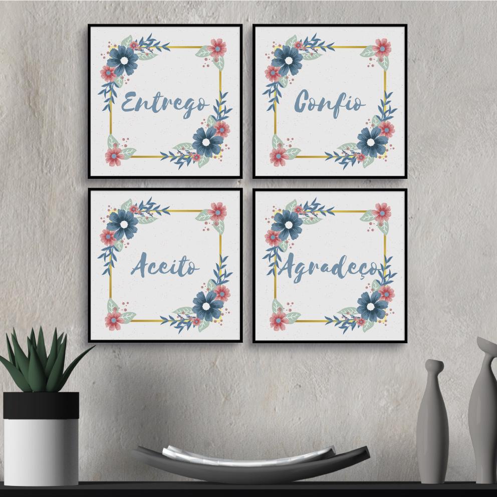 Conjunto Mantra Zen Floral Azul (Entrego, Confio, Aceito, Agradeço)