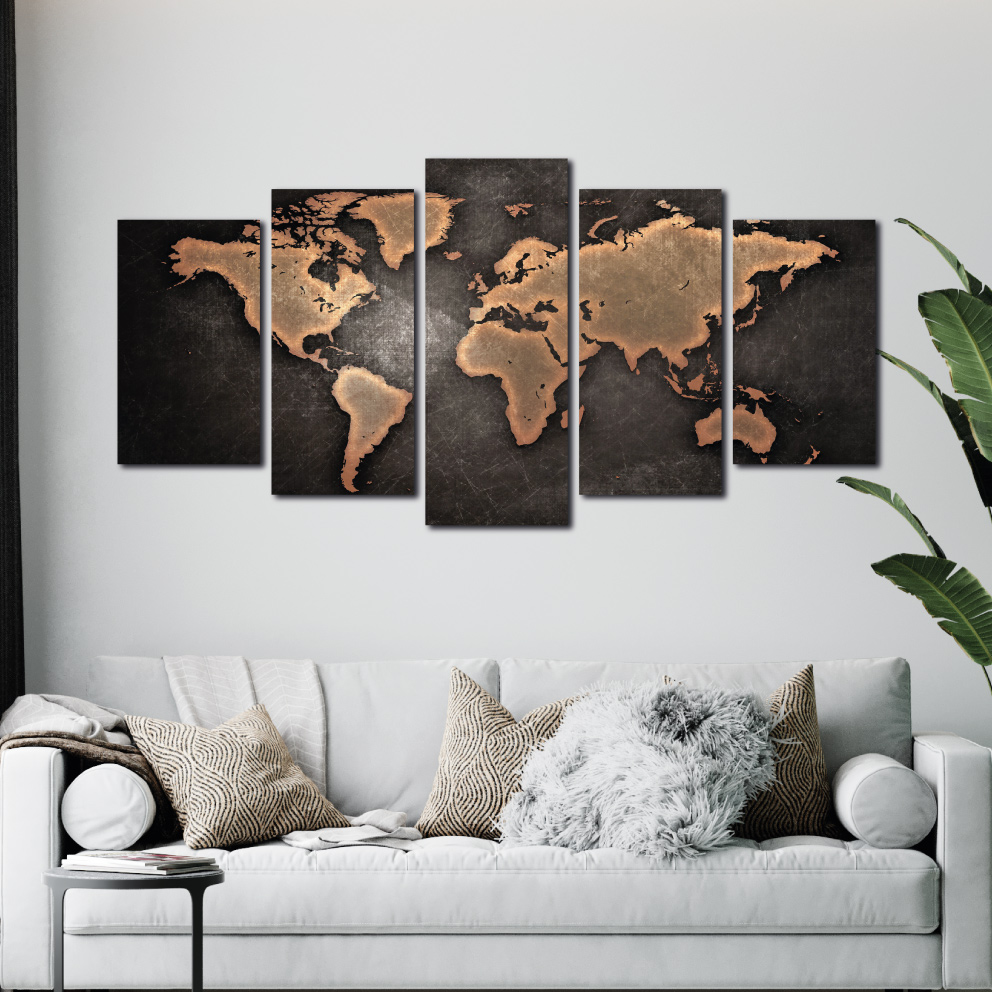 Mapa Mundi Retrô - Mosaico 5 peças