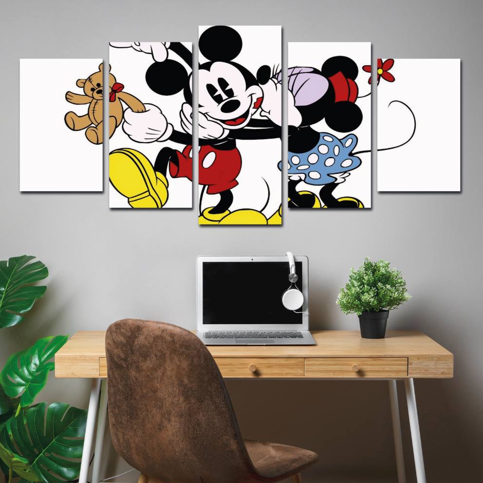 Mickey e Minnie Beijo - Mosaico 5 peças
