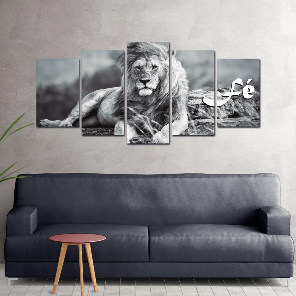 O Poderoso e Belo Leão - Mosaico 5 peças