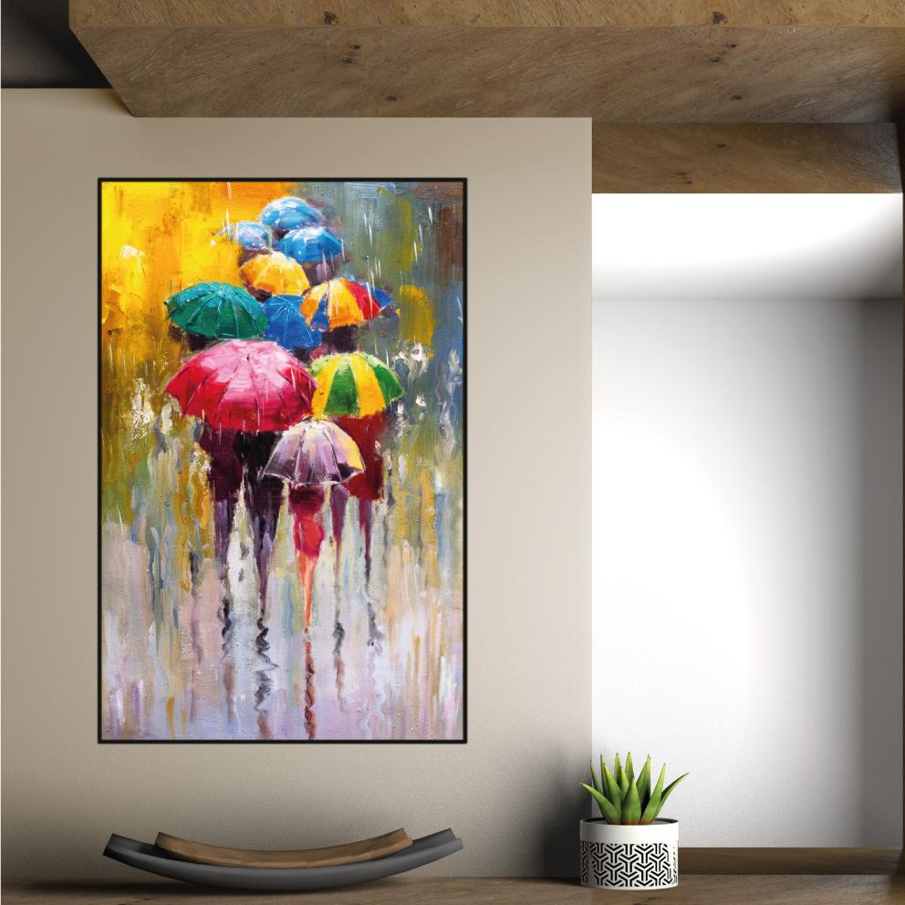 Quadro Chuva de Cores - Guarda-chuvas Aquarela