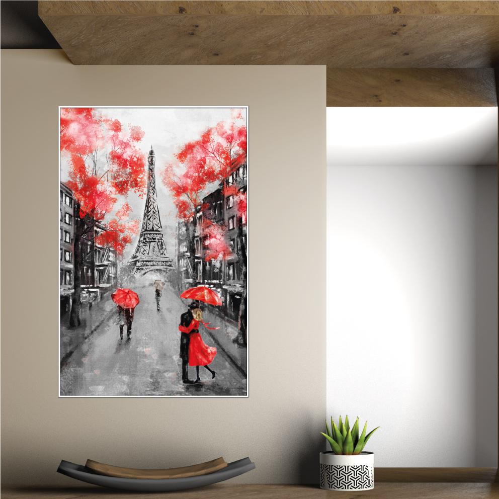 Quadro Decorativo Paris - Vermelho Paixão