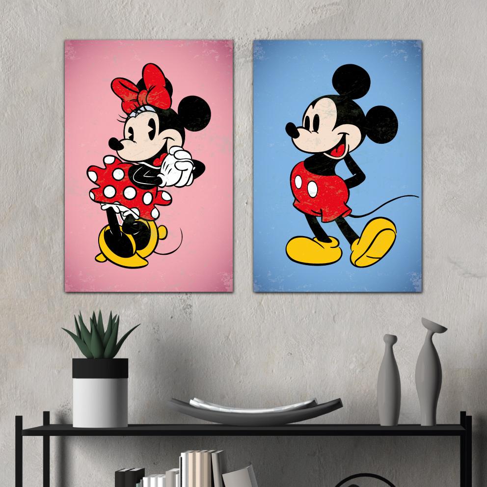 Quadro Duplo Mickey e Minnie Retrô