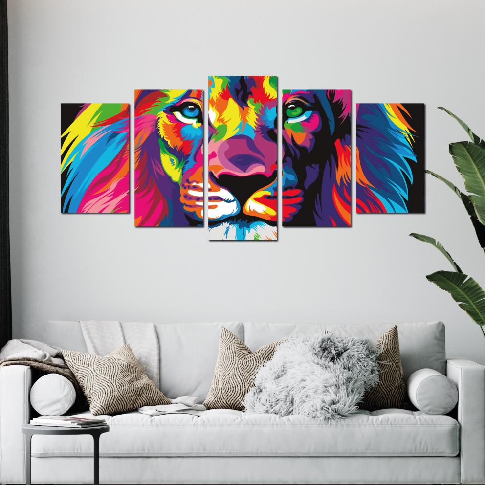 Quadro Leão de Judá, Moderno e Colorido
