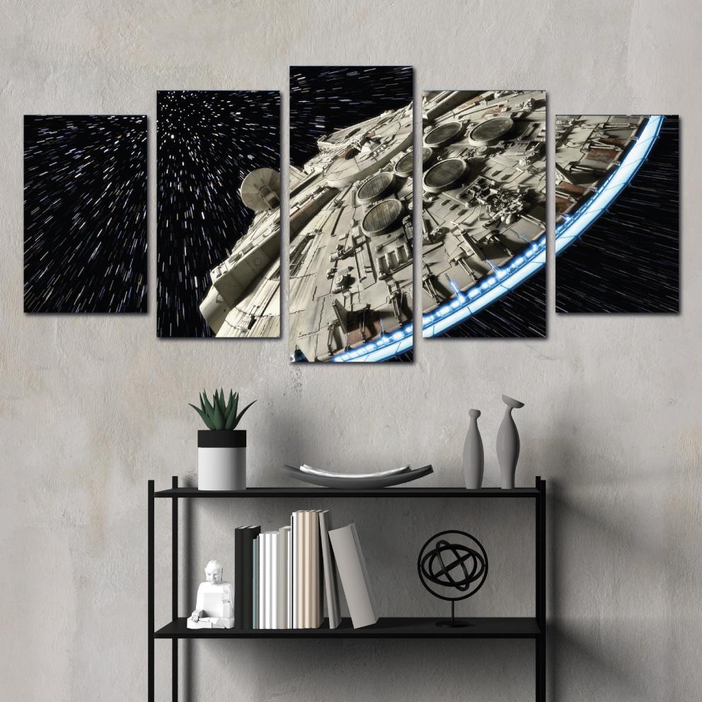 Quadro Star Wars, Millennium Falcon - Mosaico 5 peças