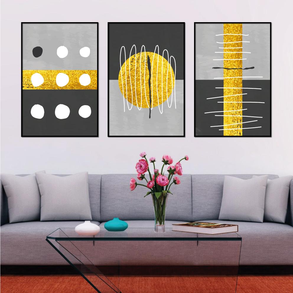 Trio Abstrato Dourado com Cinza
