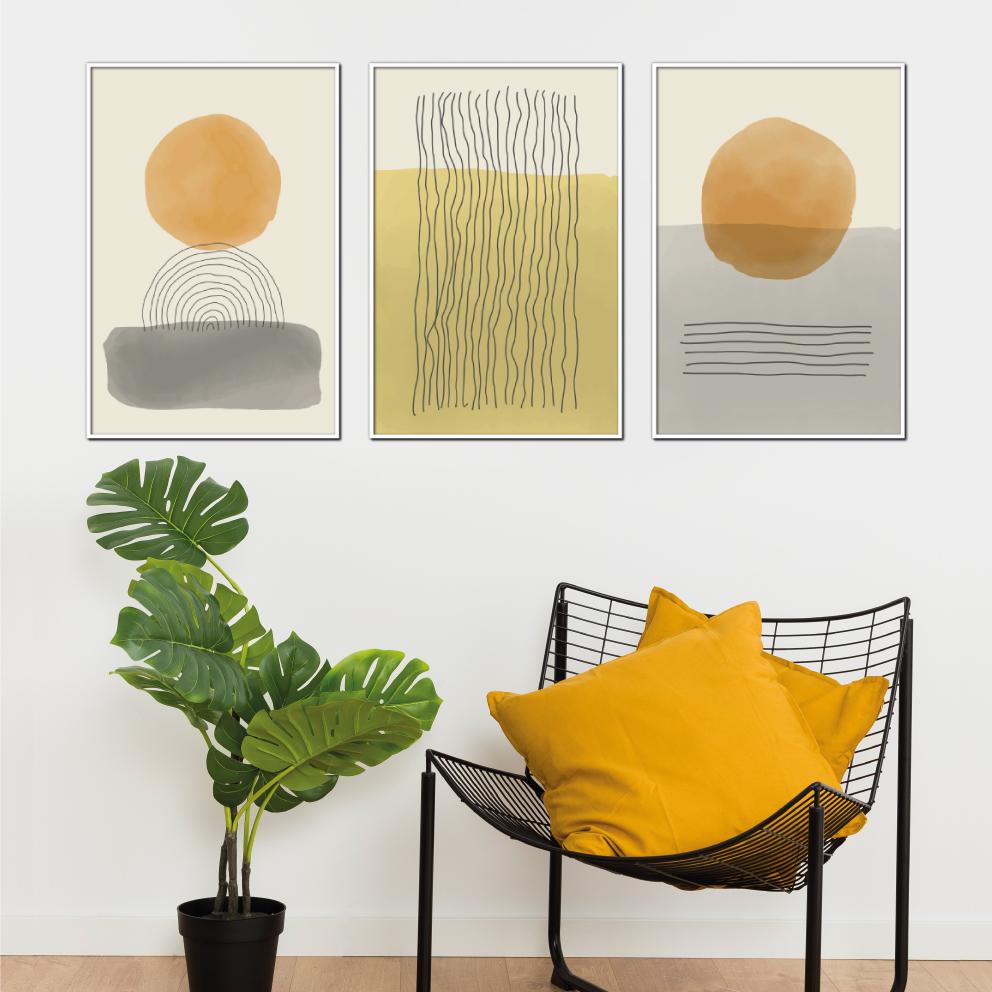 Trio Sol, Areia e o Mar, Abstrato Amarelo