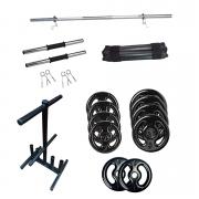 Kit 30Kg Emborrachada + Barras Ocas + Suporte Anilhas + Protetor de barras