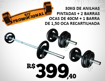 Kit 30kg Anilhas Pintadas Barra 1,50m oca
