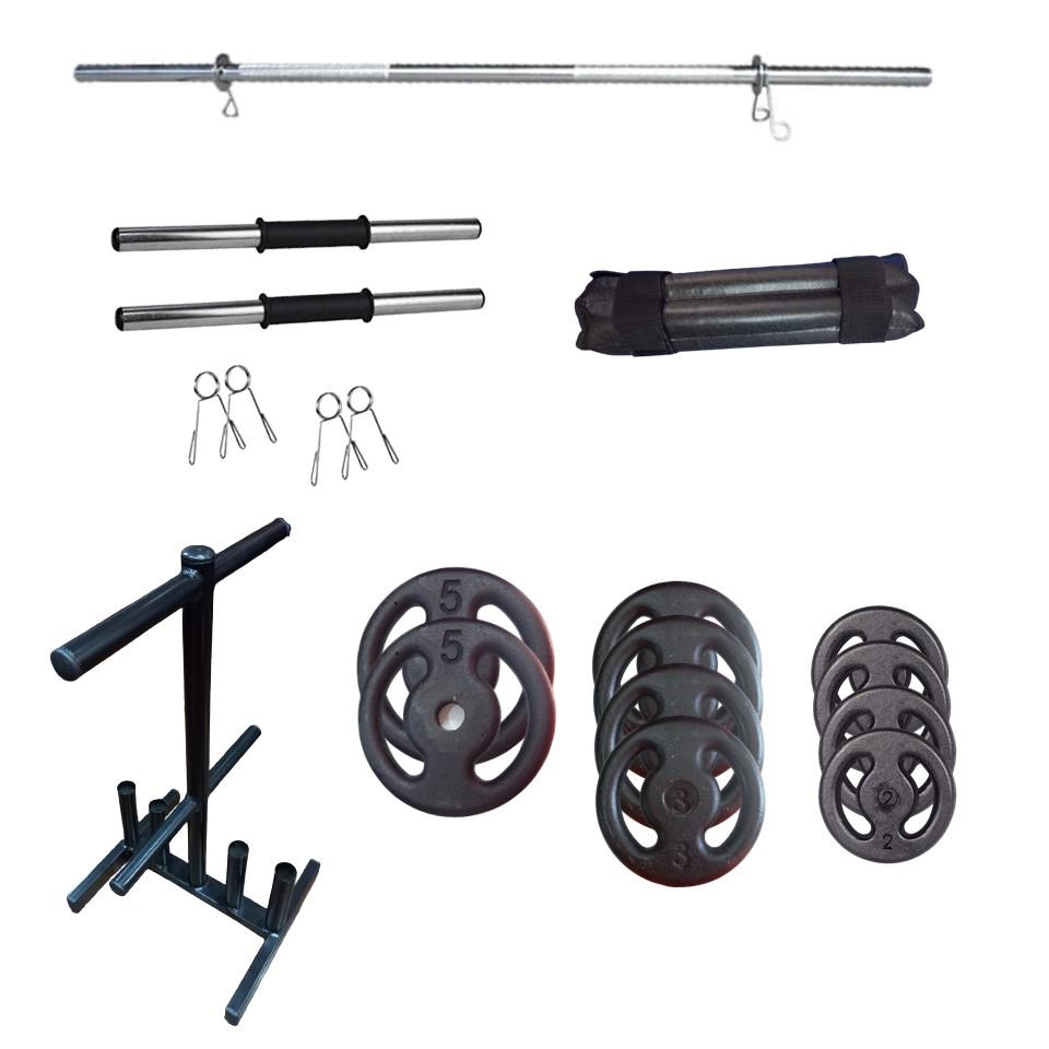 Kit 30Kg Pintadas + Barras Ocas + Suporte Anilhas + Protetor de barras