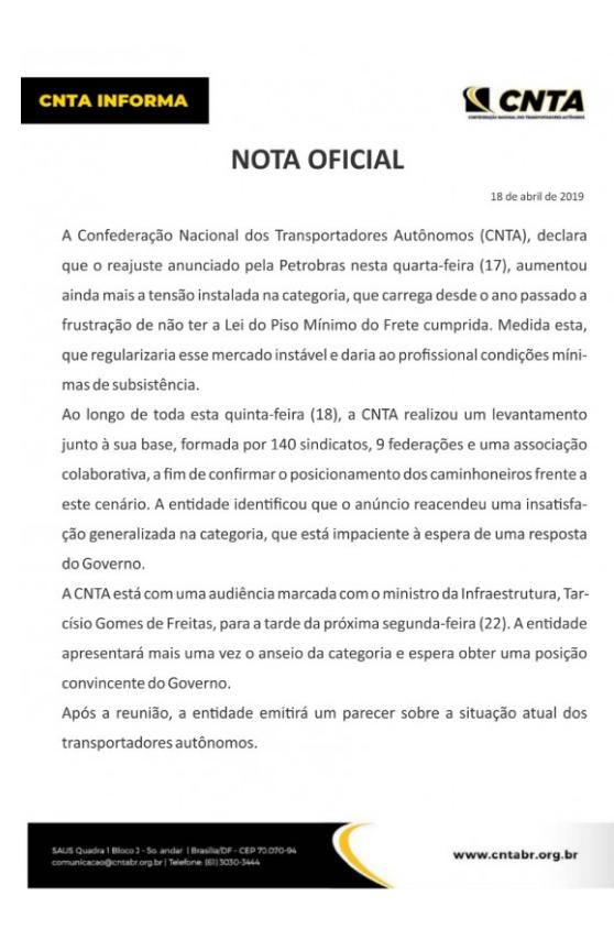 Nota Oficial da CNTA sobre a Greve dos Caminhoneiros 2019
