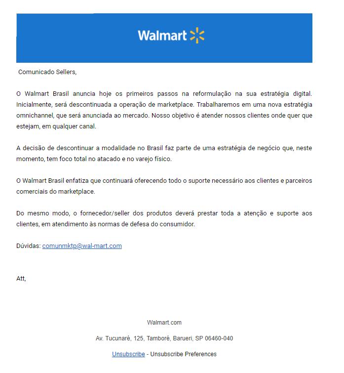 Fim do marketplace Walmart no Brasil: companhia encerra vendas online
