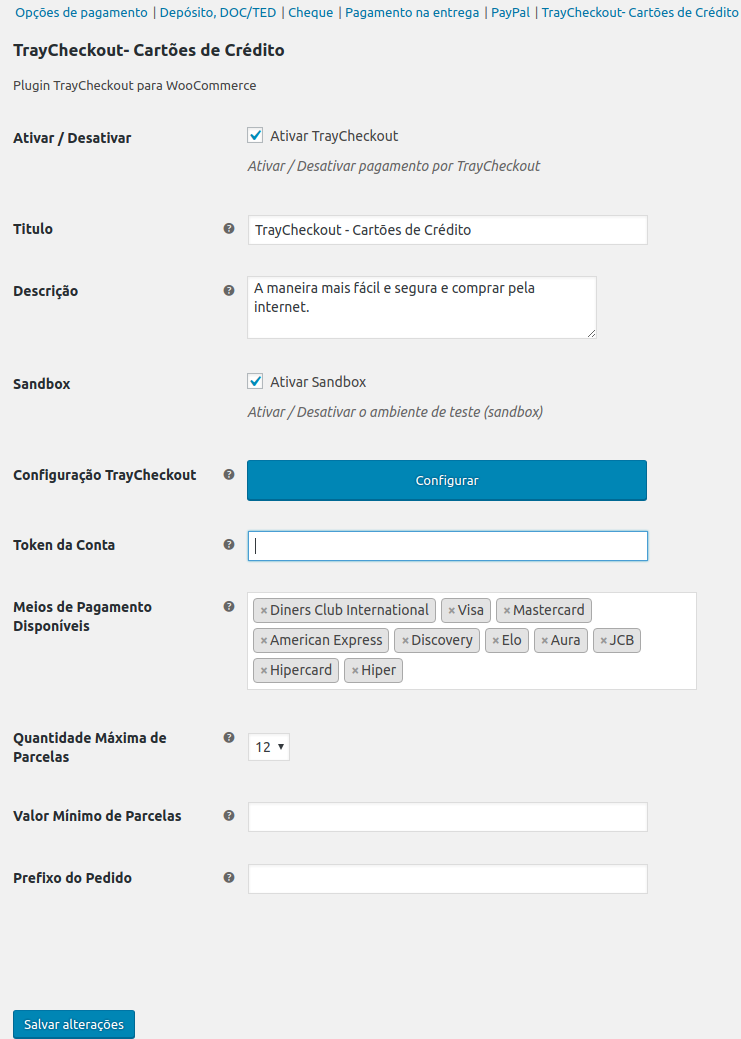WooCommerce Admin - configuração plugin do Traycheckout
